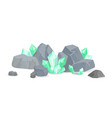 green crystals among stones realistic minerals vector image vector image
