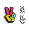 hand and two fingers are like peace symbol vector image