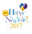 Happy new year 2017 blue golden logo icon vector image vector image