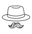 hat and moustache black and white vector image vector image