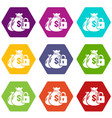 insurance money icons set 9 vector image vector image