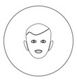 little boy face black icon in circle isolated vector image vector image