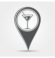Martini cocktail map pointer icon vector image