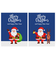 merry xmas happy new year poster santa bag deer vector image vector image