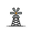 mill windmill farming flat color line icon vector image vector image