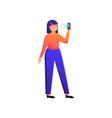 modern fashion girl use smartphone to unlock vector image vector image