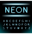 Neon light alphabet font vector image vector image