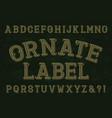 ornate label font isolated english alphabet