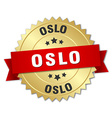 Oslo round golden badge with red ribbon vector image vector image