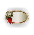 oval frame with a sign one hundred percent natural vector image vector image