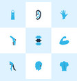 physique icons colored set with joint arm leg vector image vector image