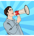 Pop Art Style Man with Megaphone in comic style vector image