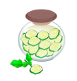 Preserved Kaffir Lime Fruit in A Jar vector image vector image