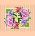 sale banner design with flowers and frame vector image