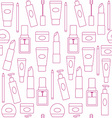 Seamless background with cosmetics icons vector image vector image