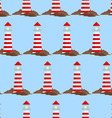 Seamless pattern with lighthouse vector image vector image