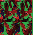 seamless pattern with red macaws flying hand vector image vector image