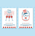 set vintage 4th july poster flyer template vector image