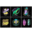 skateboard shop stickers set dinosaur and vector image vector image