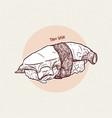 sushi nigiri tako octopus hand draw sketch vector image vector image