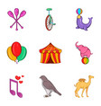 tame icons set cartoon style vector image vector image