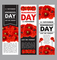 vertical posters fo remembrance day vector image vector image
