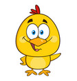 yellow chick cartoon character waving vector image vector image