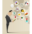 Young businessman holding mobile phone vector image
