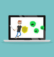 young character fighting against virus flat vector image