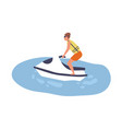young man on aquabike male character riding vector image