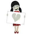 Zombie girl with a whiteboard vector image vector image