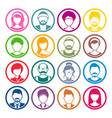 avatar circle icons male and female faces vector image vector image
