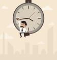 Businessman hangs on an arrow of clock vector image vector image