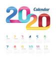 calendar 2020 calendar 2020 colorful line vector image vector image