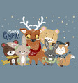 christmas poster with forest animals vector image vector image