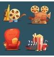 Cinema Movie Retro Symbols Cartoon Set vector image