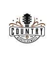 classic country music logo guitar vintage retro vector image