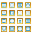 computer chips icons set sapphirine square vector image vector image