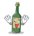 crazy wine bottle character cartoon vector image