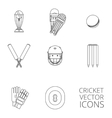 Cricket icons set black outline vector image