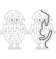easy chicken maze vector image vector image