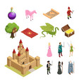 fairy tale isometric icons set vector image vector image