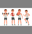fitness man different poses work out vector image