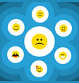 flat icon expression set of smile sad hush and vector image vector image