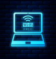 glowing neon laptop and free wi-fi wireless vector image vector image