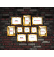 gold photo frames on a brick wall background vector image vector image