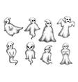Halloween cartoon eerie white ghosts vector image vector image