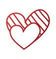 heart love romance passion decorate stripes dots vector image