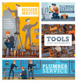 house repair services workers tools shop banners vector image vector image