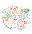 ketogenic diet banner in hand drawn doodle style vector image vector image